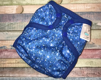 Royal Blue Glitter Polyester PUL Cloth Diaper Cover With Aplix Hook & Loop Or Snaps You Pick Size XS/Newborn, Small, Medium, Large, or OS
