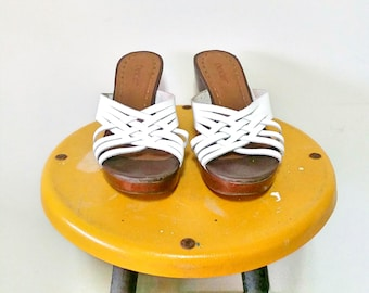 Vintage Dexter White Woven Leather Wedge Sandals Size 8