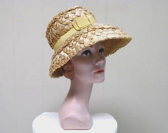 Vintage 1960s Hat / 60s Natural Cello Straw I MAGNIN Sun Hat
