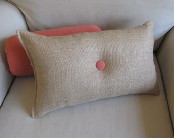 lumbar style 11x19 Burlap Pillow with   coral-terra cotta-melon   organic cotton duck button front and back