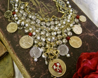 Someday My Prince Will Come: Wedding Choker STATEMENT Fairy Tale Bride Cinderella Vintage Assemblage Silver Gold Coins Crest Knight