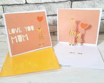 Mum Birthday Card, Card for Mum, Love You Mum Card, Popup Card, First Mothers Day Card, Baby Giraffe Card, Cute Card for Mum