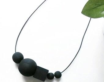 Wednesday - Large Beaded Necklace- Matte Black