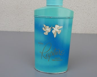 "Vintage Avon ""Rapture"" Perfumed Talc Powder Tin full Bathroom Vanity Mother's Day Gift Birthday/Bridal Shower/Avon Collectible/Collector"