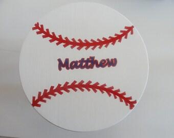 Handpainted Decorative Baseball Foot Stool
