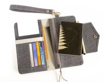 Passport Wallet, Family Travel Wallet, Passport Holder, Passport Cover in Dark Grey, Passport Organizer, Travel Accessory, Travel Gifts