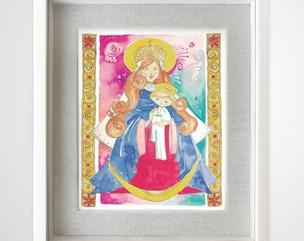 Virgin Chinita and child God in watercolor, digital art direct download