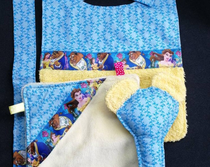 Pocket baby bib pacifier Disney beauty and the beast rattle toy