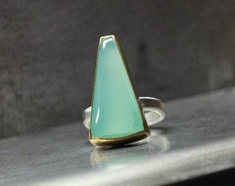 Modern Large Seafoam Smithsonite Statement Ring 22k Yellow Gold Silver Geometric Mint Green Blue Gemstone Ocean Water Glow - Trapezoid Tear