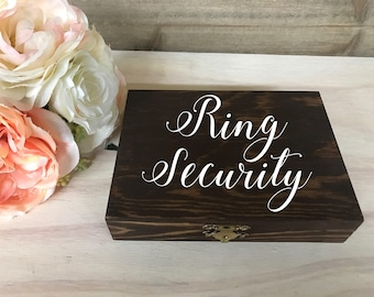 Ring Security / Personalized Wedding Ring Box / Wood Ring Box / Ring Bearer Box / Double Ring Box / Wood Box / Ring Box / Wedding Box / Ring