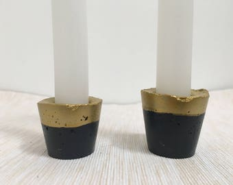 CONCRETE CANDLE HOLDERS - tealight holders / candlestick holders / dipped / neon / pastel / metallic / minimalist / home decor