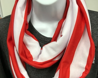 Red and white infinity scarf infinity scarf