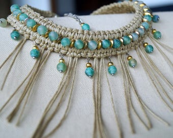 Aquamarine Stone Necklace, Tan Fringe Necklace, Macrame Choker, Boho Necklace