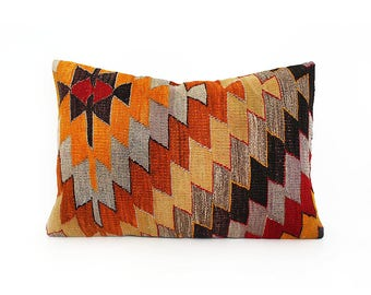kilim pillow, decorative pillow, turkish pillow, kilim pillow cover, throw pillow, bohemian pillow, kilim pillows, pillow cover, 16''x24''