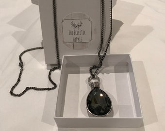 Handmade Black Silver with Black Jewel Necklace
