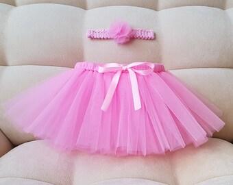 Pink tutu and crochet headband Baby girl tutu Birthday tutu Wedding tutu Summer tutu Gift Newborn tutu set