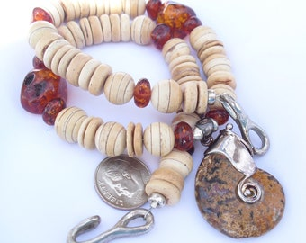 Ammonite Necklace with Amber and Bone Beads, Sterling Silver Ammonite Pendant, Fossilized Ammonite