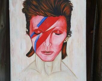 David Bowie Ziggy Stardust art painted canvas