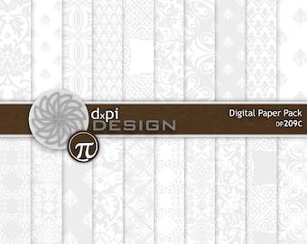 Light Gray Digital Damask Paper and Printable Backgrounds - Light Gray Damask Scrapbook Paper for DIY Weddings - Instant Download (DP209C)