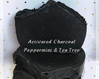 Charcoal Soap, Acne Soap, facial soap, Detox Soap bar, Peppermint Soap, Tea Tree Soap, Natural Soap, Handmade Soap, Essential Oil Soap Bar