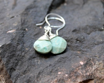 mint earrings. teal gemstone earrings.  sterling wrapped faceted milky green with wide sterling silver earwires