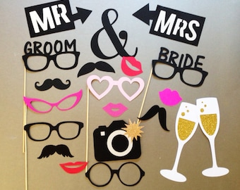 Wedding Photo Booth Prop Holiday Photo Booth Props Set of 20