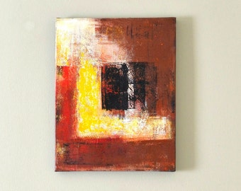Brown Yellow Painting 14 x 11 inches, Red Black Painting, Black Yellow Painting, Warm Colors, Earth Tones Painting, Brown, White