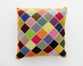 Vintage 1970s Needlepoint Pillow // Multi Color Decorative Cushin Hand Embroidery // Harlequin