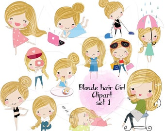 Blond hair Girl ,girl stickers set 1, instant download PNG file - 300 dpi