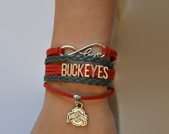 Infinity Love The Ohio State Buckeyes braided faux leather scarlet and gray bracelet with OSU charm