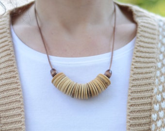 Natural wood necklace