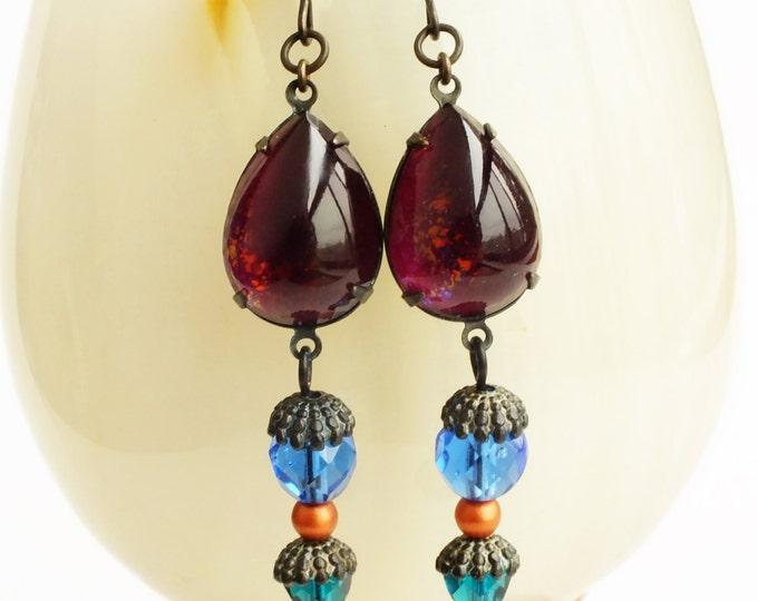 Purple Blue Glass Dangle Earrings Burgundy Drop Earrings Nail Polish Jewelry Purple Teal Teardrop Earrings Colorful Jewelry