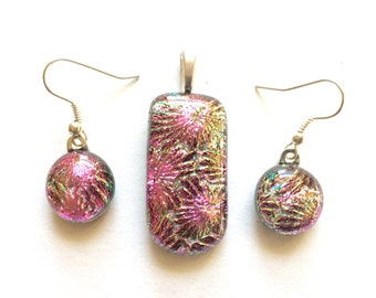 Stunning PINK & GOLD Rainbow Accents 12mm Fused Dichroic Glass Dangle Earrings matching Pendant set. SHIMMERING multi-colored reflections