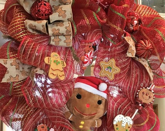 Gingerbread Cookie Deco Mesh