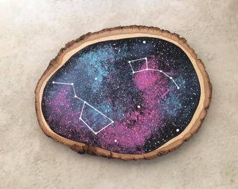 Big Little Dipper - Galaxy Painting - Big Little Gifts - Wood Slice Painting