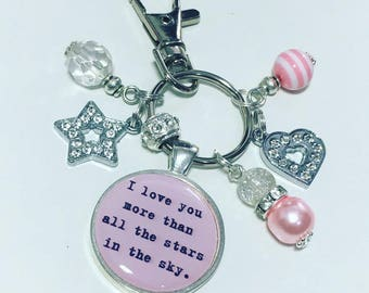 Love you keyring, Love you keychain, I love you more than all the stars in the sky, girlfriend gift