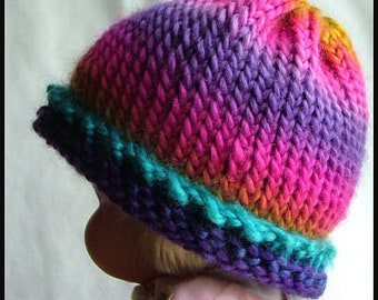 Toddler's Rainbow Hand-Knit Hat