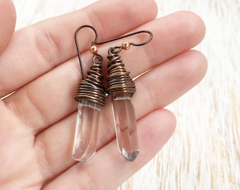 Quartz Crystal Earrings, Quartz Point Earrings, Wire Wrap Earring, Raw Quartz Earring, Clear Quartz Jewelry, Hypoallergenic Niobium Earrings