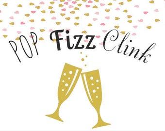 Pop Fizz Clink Wine Label *Free Shipping*