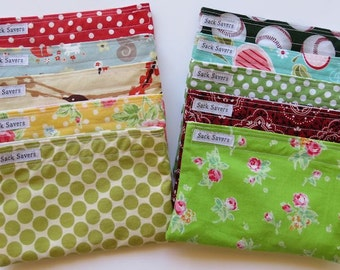 Reusable Snack Bags Any Four You Choose Fabric Eco Friendly