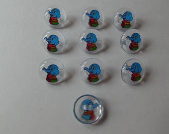 ELEPHANT MOTIF ~ 10 x Clear with Elephant Motif Buttons ~ 24L (15mm)
