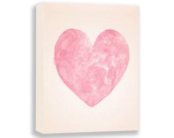 Canvas Art - Watercolor Nursery Art - Hearts - Baby Girl Nursery - Girls Room Art - Nursery Decor - Kids Wall Art - Baby Girl - H201