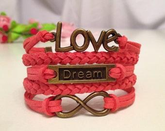 Love bracelet Dream bracelet Infinity  bracelet  Coral Red Charm Bracelet  Antique bronze charm Friendship bracelet Leather bracelet