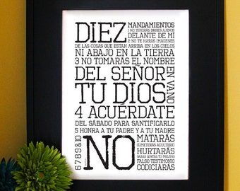 Exodo 20. Diez mandamientos. Inspirational Bible Verse in spanish. B/W. Subway Art. Unframed.