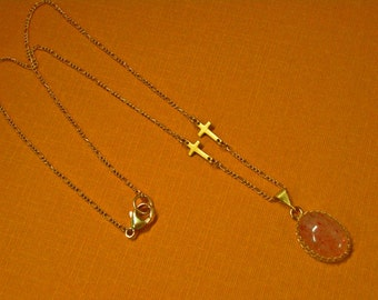 Sunstone Necklace - Gold-Filled Sunstone Necklace with Crosses - One of a Kind Necklace