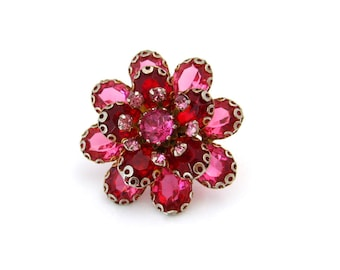 Vintage Pink Red Rhinestone Flower Brooch | Collet Set Floral Pin | Vintage 1950s Jewelry