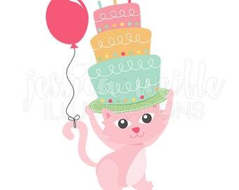 Happy Birthday Kitty Clip Art, Cute Digital Clipart, Birthday Cat Clip art, Birthday Cake Graphics, Illustration, #1691
