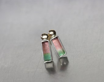 Tiny Rough Bi-Color Tourmaline Stud Earrings Sterling Silver 14K Yellow Gold Green Pink Modern Minimalist Raw Gemstones - Watermelon People