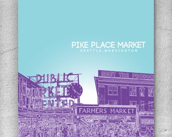 Home Office Wall Art Poster / Pike Place Market Washington Skyline 8x10 Poster / Any City or Landmark