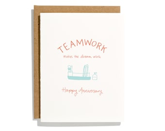 Team Work Anniversary - Letterpress Love Card - CL273